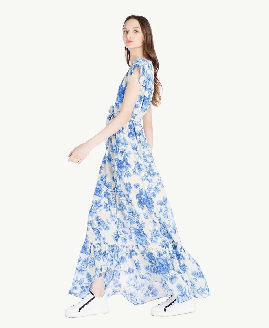 Robe longue imprimée Imprimé Porcelaines Bleu Marine «Pivoine» Femme SS82MR-02
