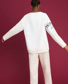 Cable knit jumper with inlays and logo White Snow Woman 192TT3060-03