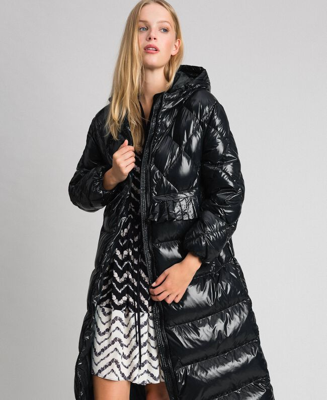 Long quilted padded jacket with real down Black Woman 192TP2501-0T