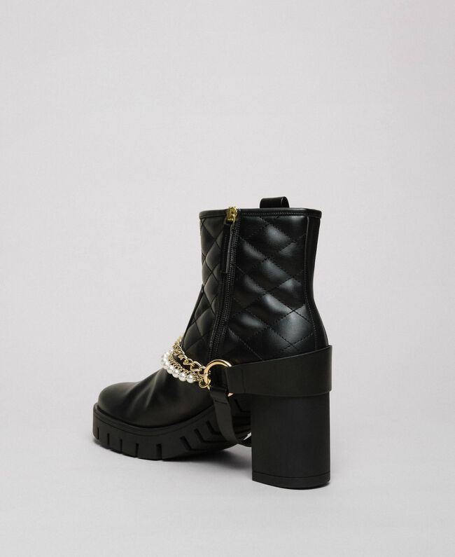 Байкерские ботинки с ремешками, цепочками и жемчугом Черный женщина 192MCP050-04