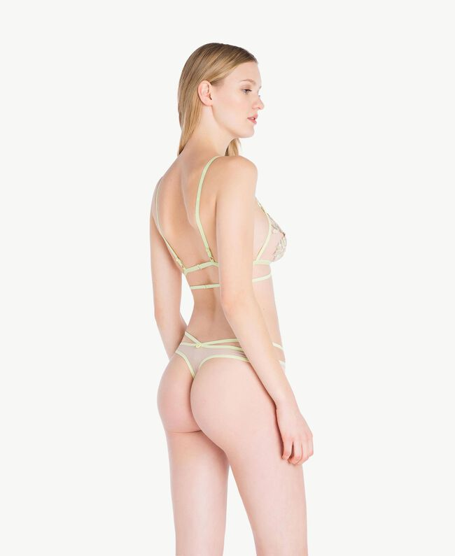 "Embroidered thong Two-tone ""Soft Lime"" Yellow / ""Peach Powder"" Pink Woman LS8F88-04"