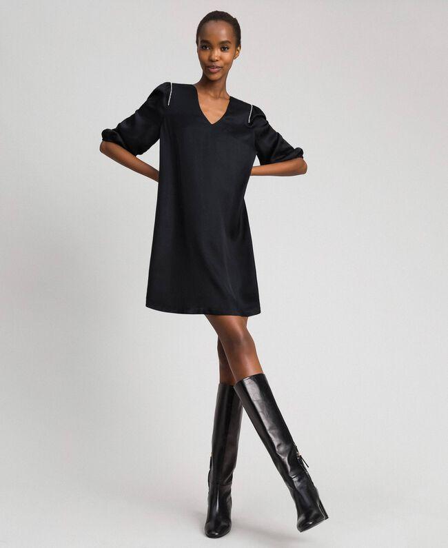 Kleid aus Satin mit Strass Schwarz Frau 192LI21SS-01