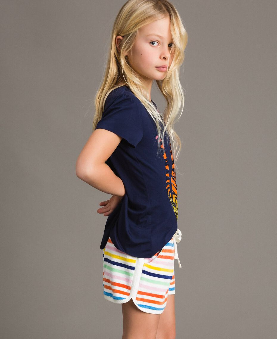 Viscose T-shirt with print and rhinestones Indigo Child 191GJ2450-02