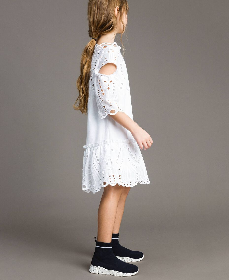 Muslin dress with broderie anglaise embroidery White Child 191GJ2620-02