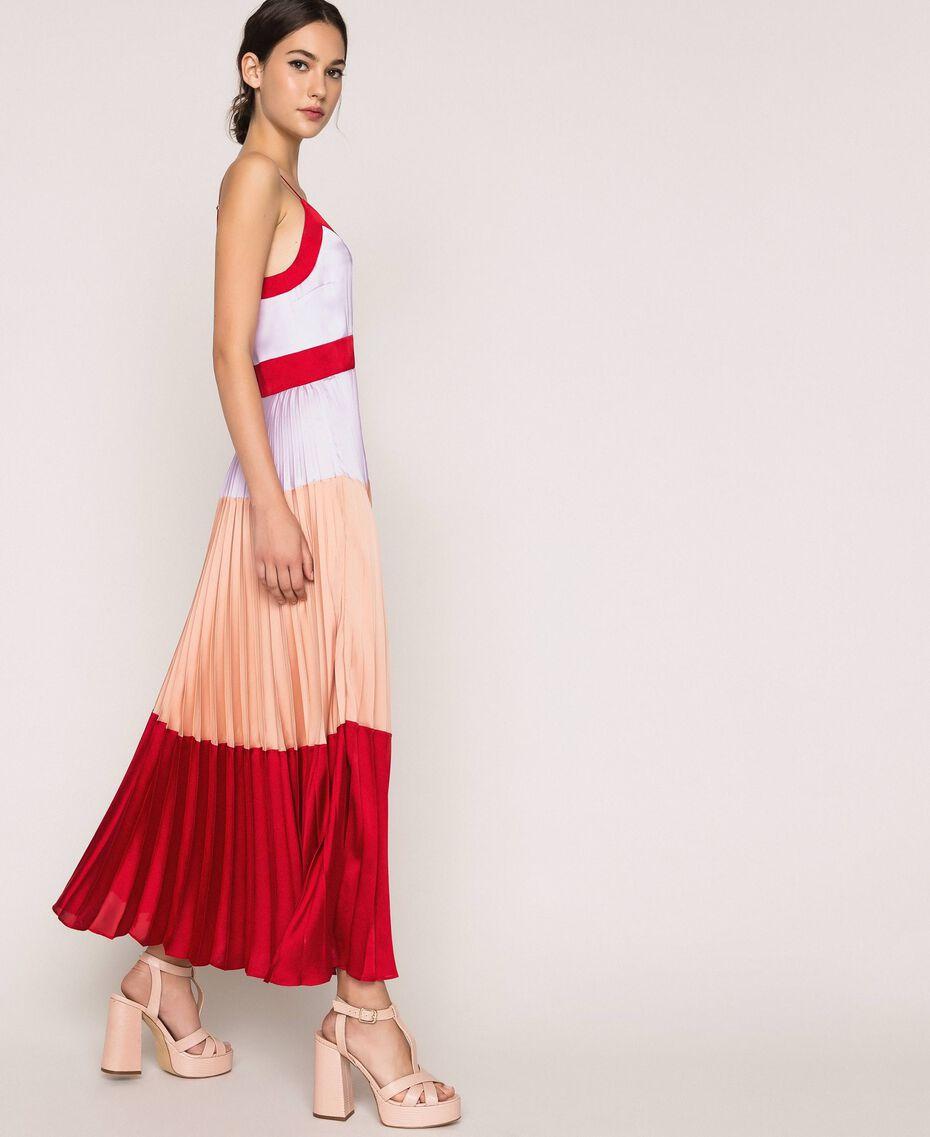 "Pleated satin long slip dress Multicolour ""Lava"" Red / ""Ballerina"" Purple / Nude Pink Woman 201TP2310-02"