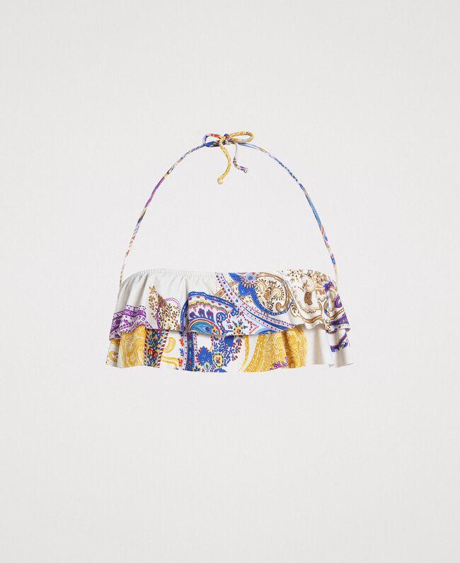 """Haut de bikini bandeau avec imprimé paisley Imprimé Paisley / Beige """"Voie Lactée"""" Femme 191LMMS11-01"""