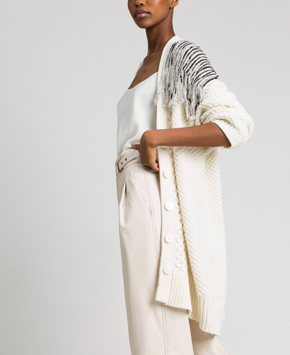 Maxi cardigan with sequins and fringes White Snow Woman 192TT3230-02
