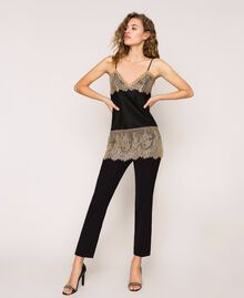 "Satin top with lace Two-tone Black / ""Hemp"" Beige Woman 201MP2134-04"