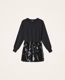 Plush fabric dress with sequins Black Woman 202MT2121-0S
