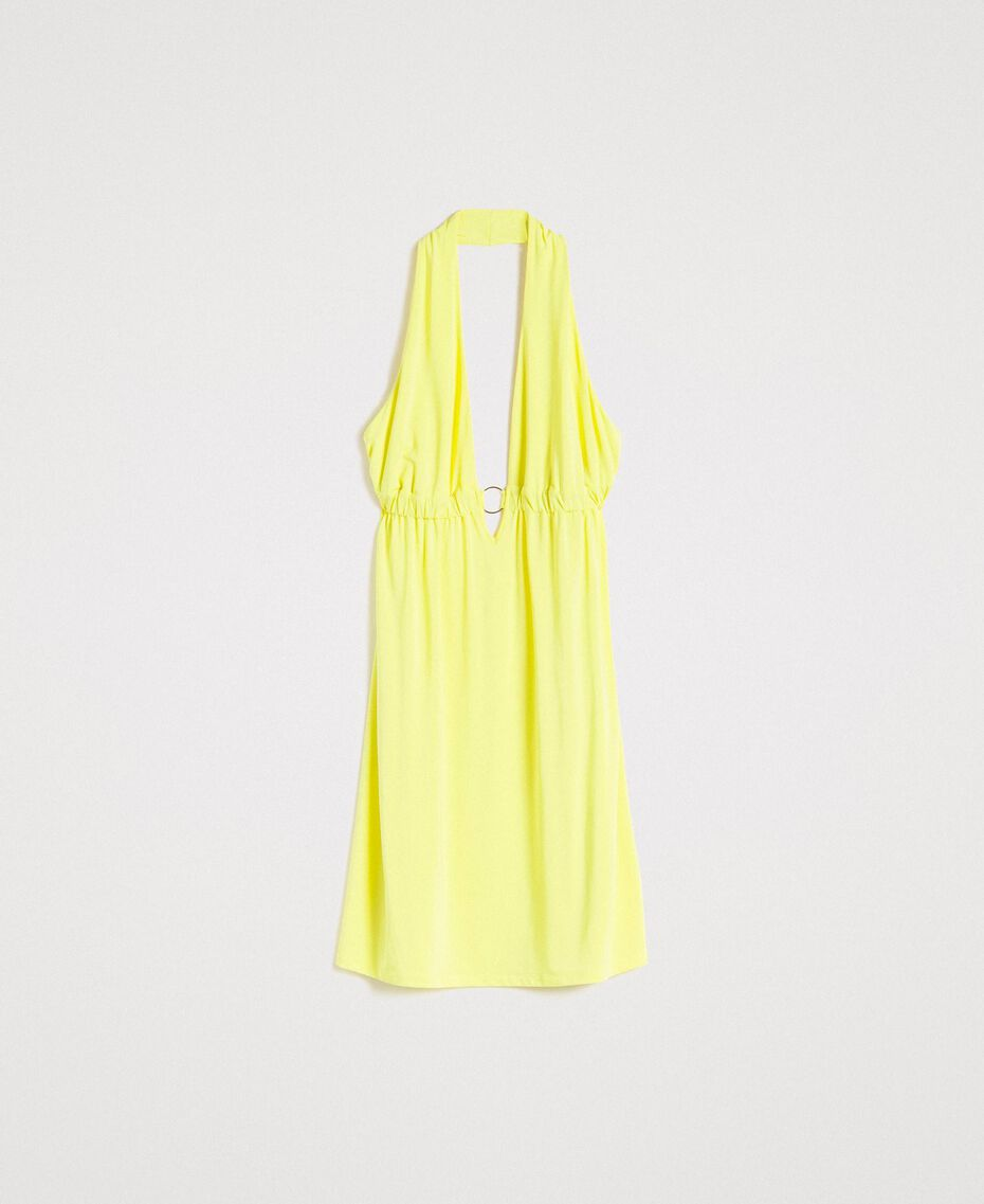 "Jersey crepe dress with loop ""Lemon Juice"" Yellow Woman 191LB22CC-0S"