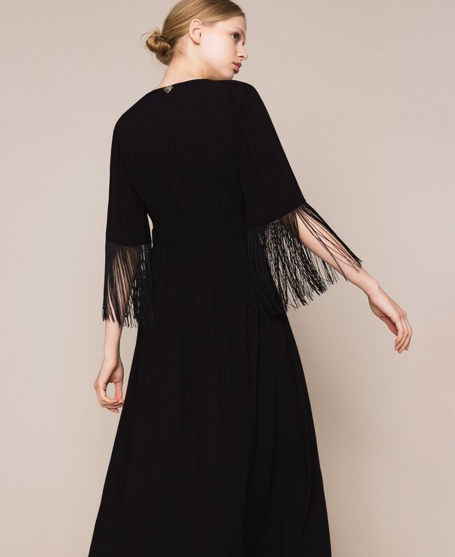 Midi dress with fringes Black Woman 201LB2CKK-04