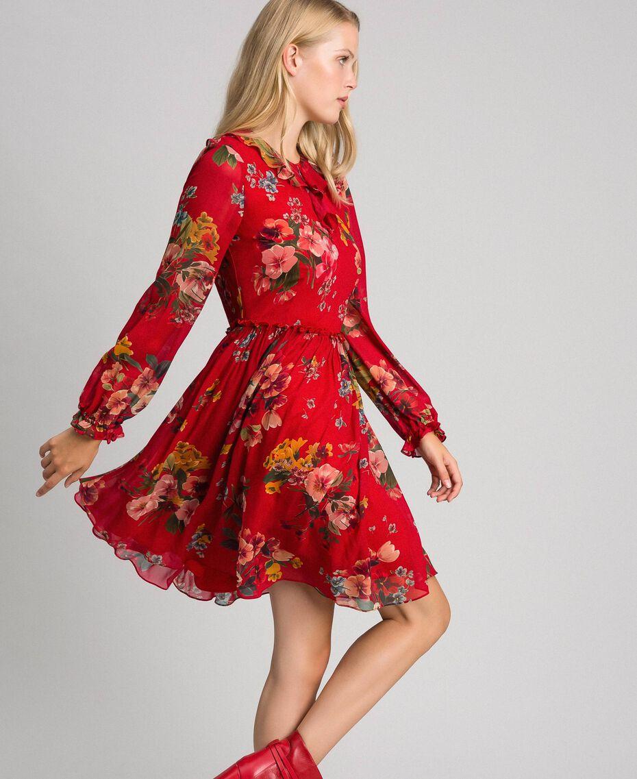 Kleid aus Georgette mit Blumenprint Feldblumenprint Granatapfel Frau 192TP2752-02