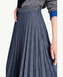 Medium length pleated skirt Denim Blue Female YA72Y9-04
