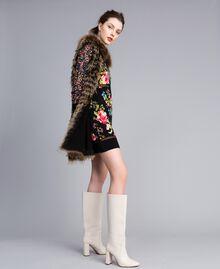 Gilet tricot in pelliccia Bicolor Nero / Camel Donna PA82LD-0T