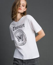 T-shirt with butterfly print and logo White Woman 192TP2712-03