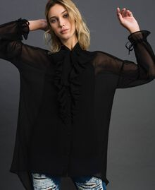 Long asymmetric georgette shirt Black Woman 192MT2062-03