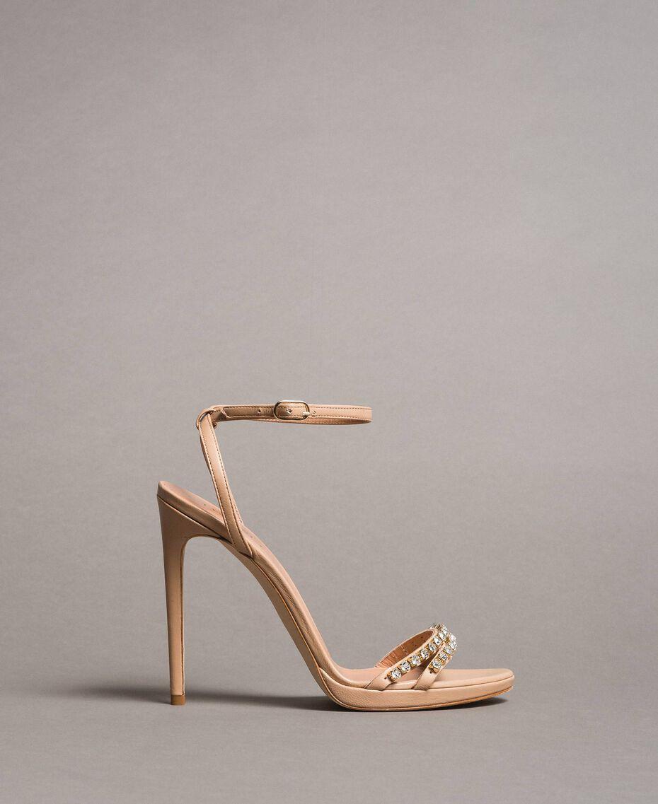 Leder-Sandalen mit Strasssteinen Nudebeige Frau 191TCT012-03