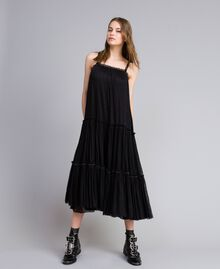 Kleid aus Tüll mit Volants Schwarz Frau JA82MA-01