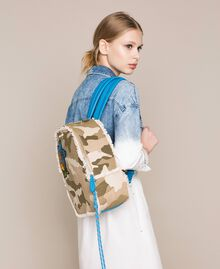 Canvas backpack with patch and fringes Camouflage Print / Vivid Blue Woman 201MO8041-0S