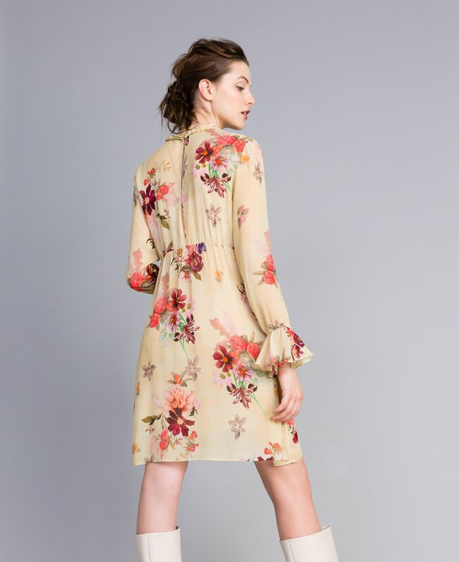 "Minikleid aus geblümtem Georgette Print ""Tea Garden"" Rosa Frau PA8271-03"