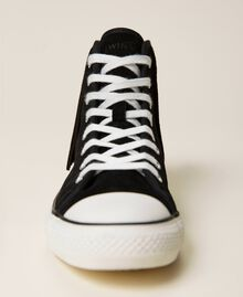 Leather trainers with fringes Black Woman 212TCP100-03