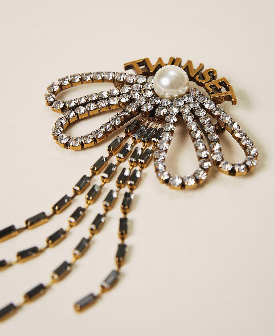 Broche en nœud avec strass et franges Cristal Femme 202TO5044-01