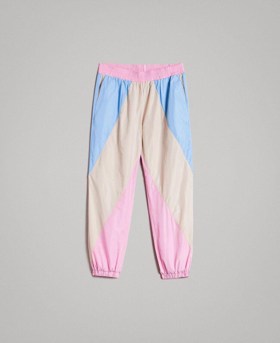 Pantaloni jogging in nylon color block Porcellana Beige Donna 191MP2093-0S