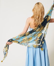 """Printed kefiah with tassels """"Sky"""" Blue Large Shell Print Woman 211LM4ZBB-0T"""
