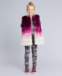 Gilet en fausse fourrure dégradée Imprimé Dégradé Violet Raisin/ Rose Bougainvillier Enfant GA82ZA-0S