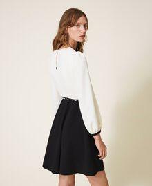 Two-tone crêpe dress with belt Two-tone Parchment White / Black Woman 202TT2337-03