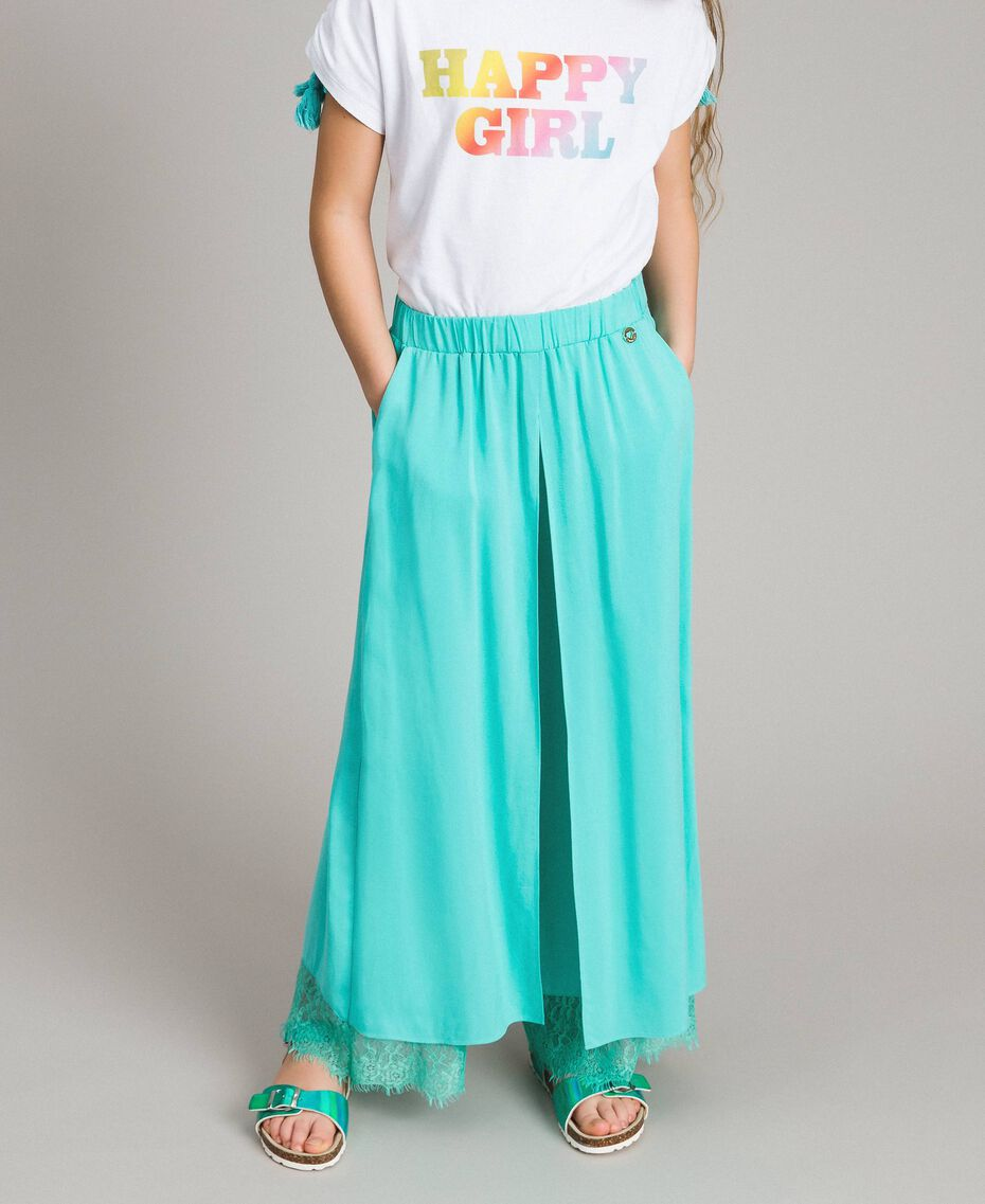 """Flowing fabric trousers with lace """"Island Paradise"""" Light Blue Child 191GJ2430-0S"""