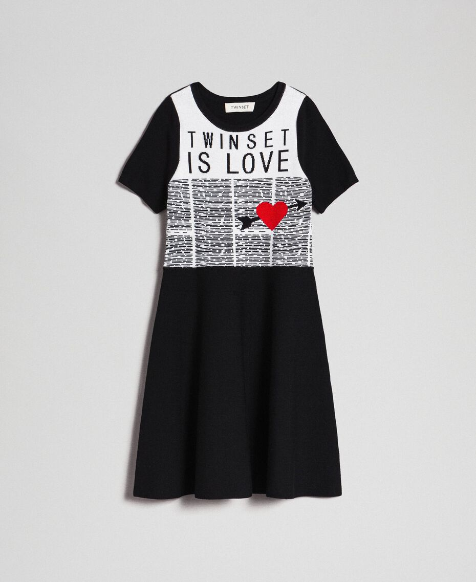 Jacquard knit dress with heart Jacquard Black / Off White Child 192GJ3161-0S