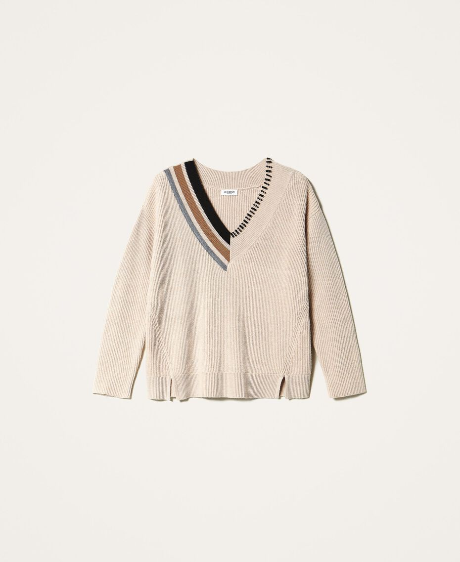 "Ribbed jumper with embroidery ""Nude"" Beige Woman 202ST3090-0S"