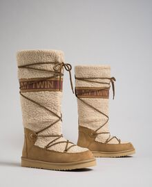 Faux fur boots with tie-up laces and logo Irish Cream Hazelnut Woman 192MCT180-01