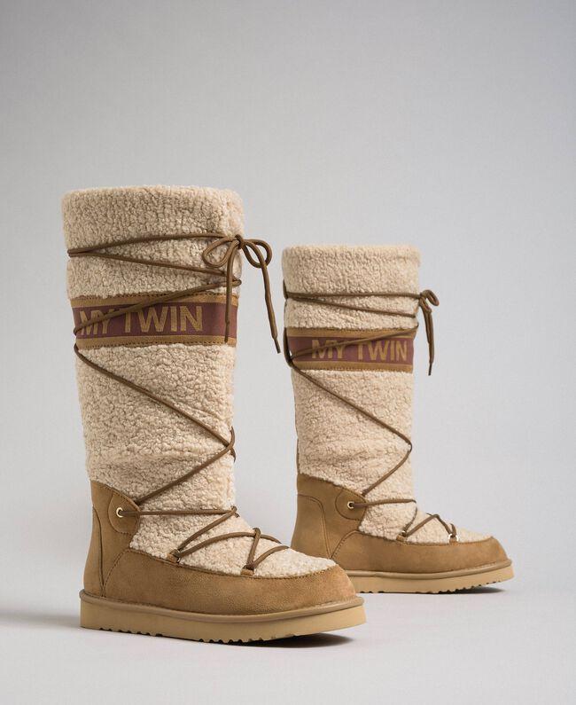 Stivali in faux fur con lacci e logo Nocciola Irish Cream Donna 192MCT180-01