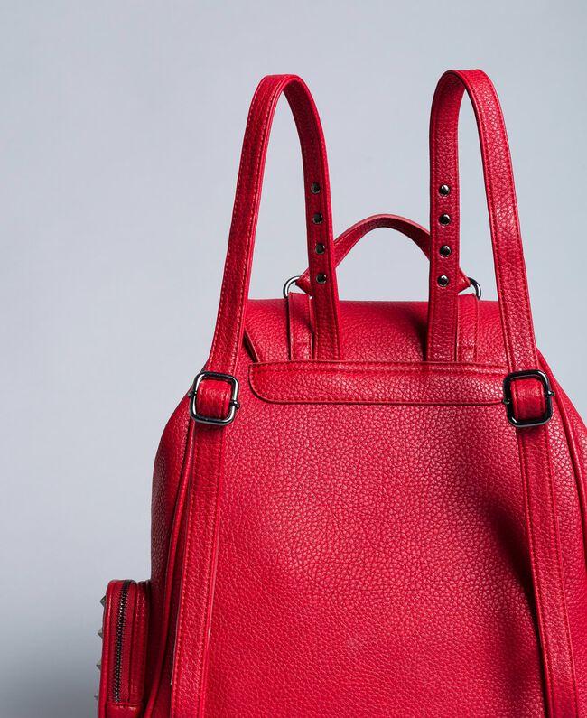 Sac à dos en similicuir avec clous Rouge Coquelicot Femme VA8PAC-03