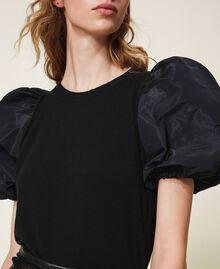 Wool blend jumper with taffeta sleeves Dark Royal Blue Woman 202TP3250-05