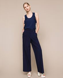 Pin stripe palazzo trousers Midnight Blue Pin Stripe Jacquard Woman 201ST2083-01