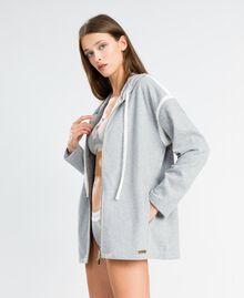 Cotton blend sweatshirt with hood Medium Gray Mélange Woman LA8MDD-02