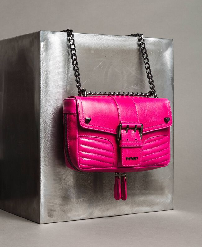 Rebel leather shoulder bag Fuxia Woman 191TO7237-01