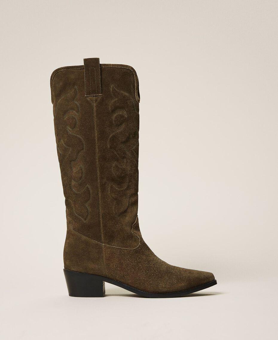 Stivali texani in pelle scamosciata Dark Olive Green Donna 202TCP160-01