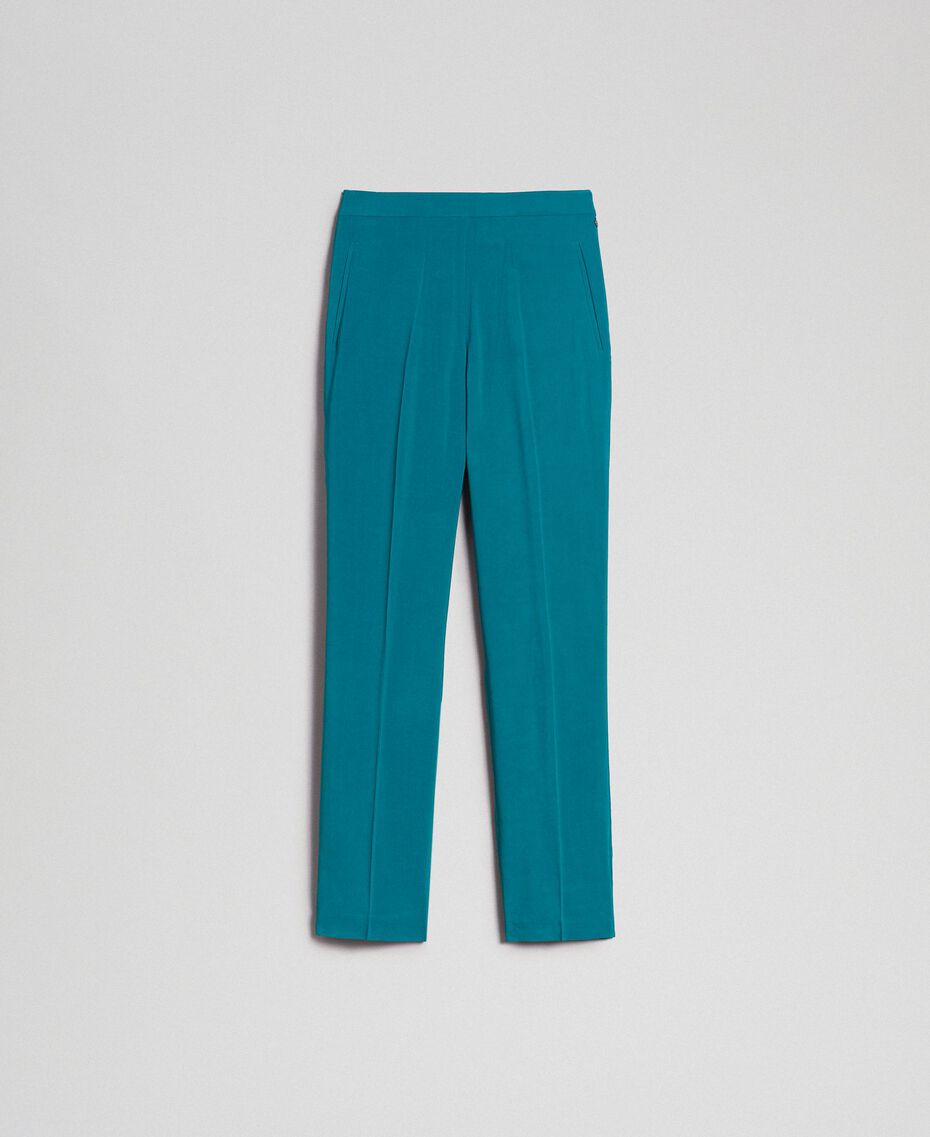 Georgette cigarette trousers Mineral Green Pale Blue Woman 192TP2386-0S