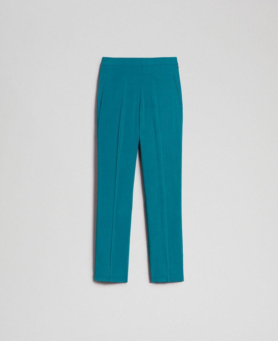 Pantalon cigarette en crêpe georgette Bleu Vert minéral Femme 192TP2386-0S