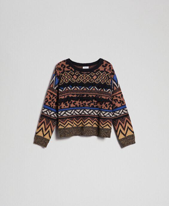 Pull en laine et mohair avec motifs jacquard