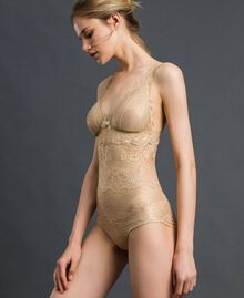 Laminated lace bodysuit Gold Yellow Woman 192LL6H00-01