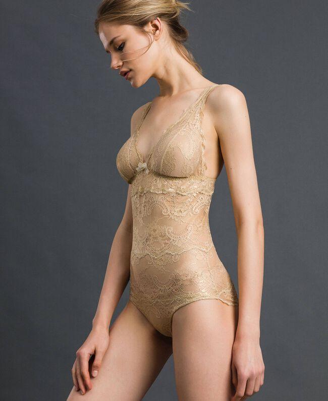 Body en dentelle lamée Jaune Or Femme 192LL6H00-01
