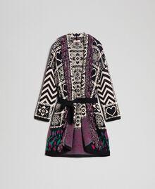 """Jacquard knit coat with fringes """"Snow"""" White Jacquard/ Black Woman 192TT3161-0S"""