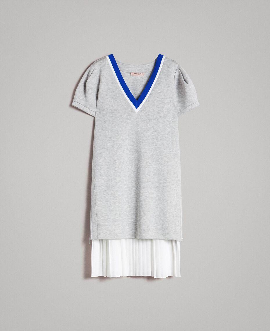 Robe plissée en scuba Gris Mélangé Femme 191TP2063-0S