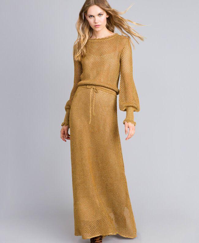 Mesh lurex long dress Gold Yellow Woman TA83EA-01
