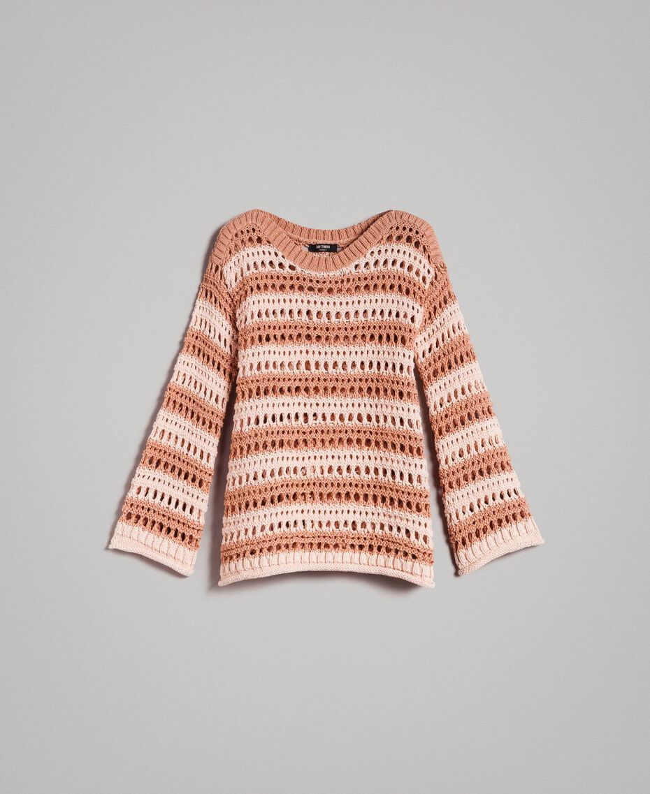 "Striped openwork top Two-tone ""Rose Sand"" Pink / ""Desert Rose"" Beige Woman 191MT3130-0S"